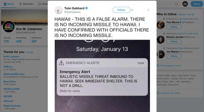 Hawaii officials say 'false alarm' on alert about inbound ballistic missile