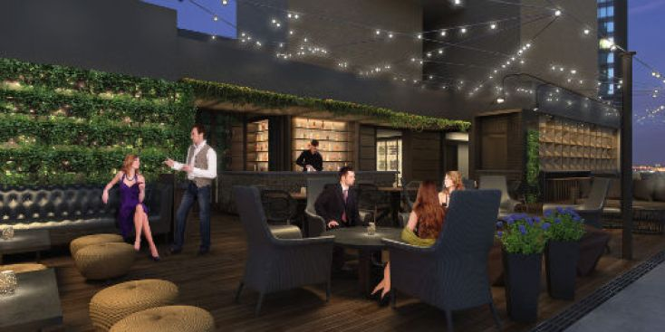 Winter Rooftop Bar Upstairs Ready To Rock Midtown