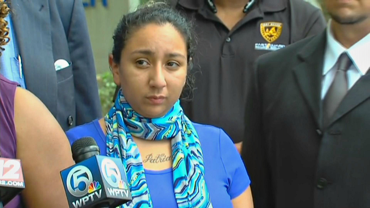 Jasmine Abuslin (Celeste Guap) appears in front of the media on Sept. 14, 2016, in Florida.