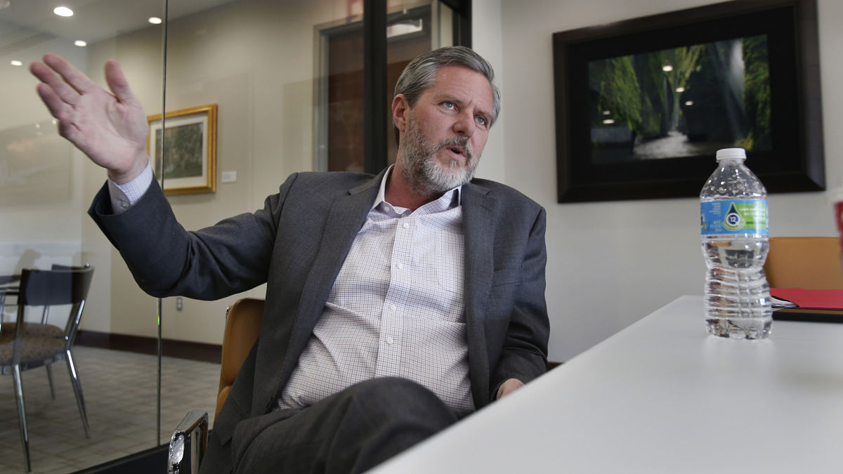 In this Wednesday, Nov. 16, 2016 photo, Liberty University president Jerry Falwell Jr., talks during an interview in his offices at the school in Lynchburg, Va. Falwell Jr. enthusiastically endorsed Donald Trump in January.