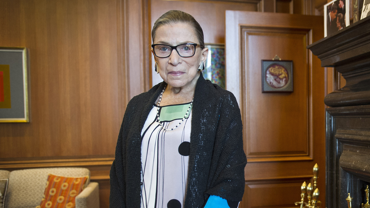 In this July 31, 2014 file photo, Supreme Court Justice Ruth Bader Ginsburg stands in her court chambers in Washington, D.C.