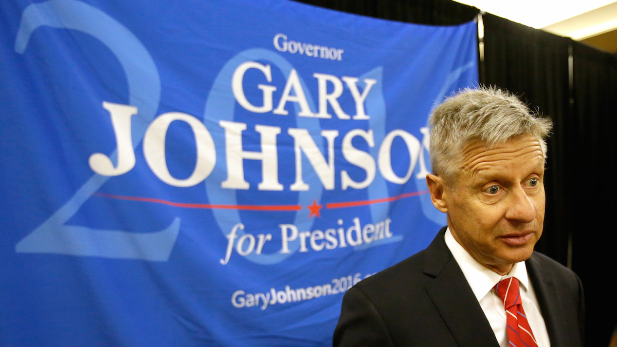 File photo: Libertarian presidential candidate Gary Johnson speaks to supporters and delegates at the National Libertarian Party Convention, Friday, May 27, 2016, in Orlando, Florida.