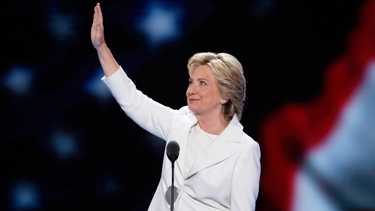 In this file photo, democratic presidential nominee Hillary Clinton waves to delegates before speaking during the final day of the Democratic National Convention in Philadelphia, July 28, 2016.