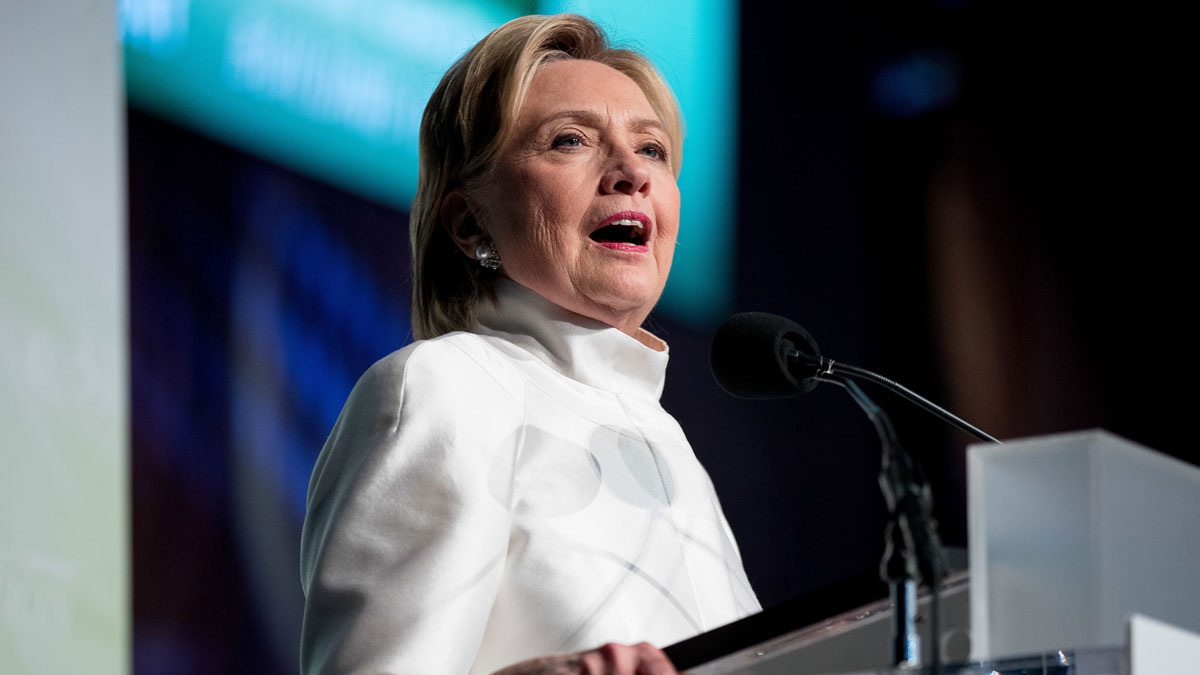 In this file photo, Democratic presidential candidate Hillary Clinton speaks at the Congressional Black Caucus Foundation's Phoenix Awards Dinner at the Washington Convention center, in Washington, Saturday, Sept. 17, 2016, after receiving a Phoenix award.
