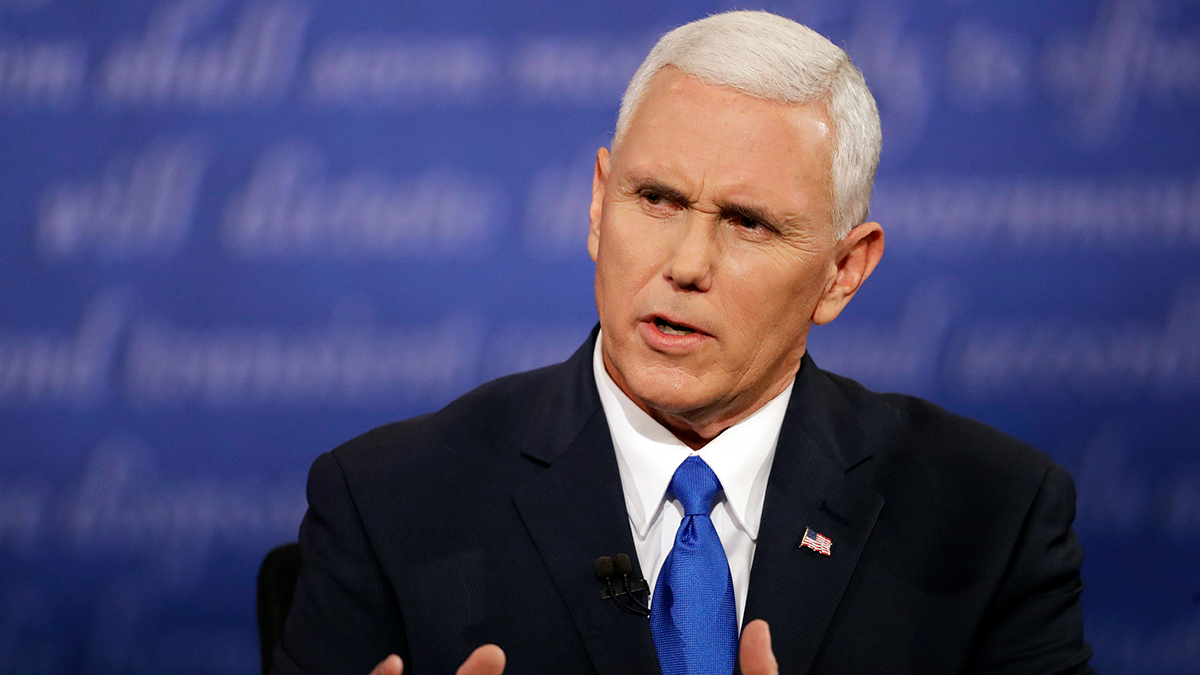 Republican vice-presidential nominee Gov. Mike Pence speaks during the vice-presidential debate with Democratic vice-presidential nominee Sen. Tim Kaine at Longwood University in Farmville, Virginia, Tuesday, Oct. 4, 2016.