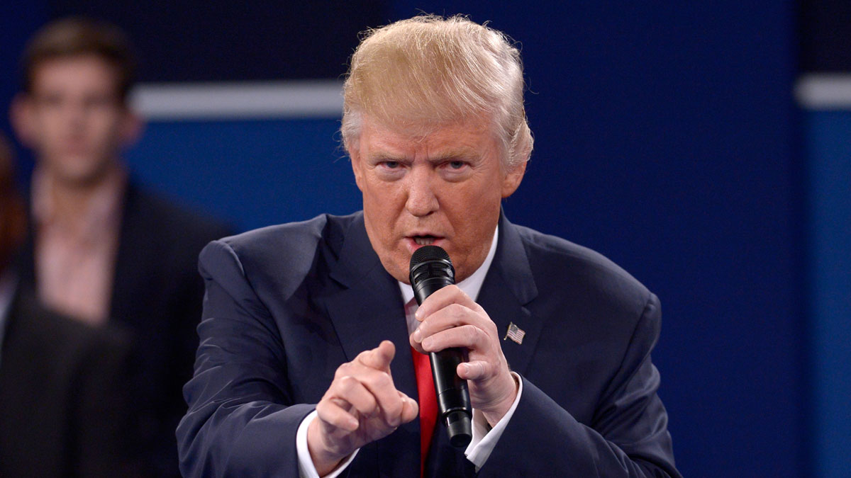 Republican presidential nominee Donald Trump speaks during the second presidential debate at Washington University in St. Louis, Sunday, Oct. 9, 2016.