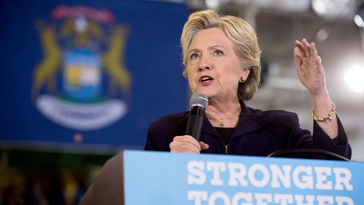 File photo Hillary Clinton speaks at a rally at Wayne State University in Detroit, Monday, Oct. 10, 2016.