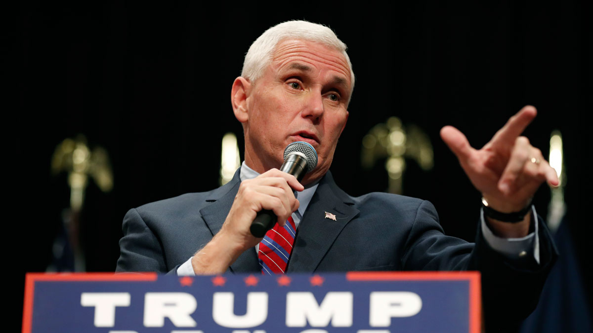 Republican vice presidential candidate Indiana Gov. Mike Pence speaks during a campaign rally, Tuesday, Oct. 11, 2016, in Newton, Iowa.