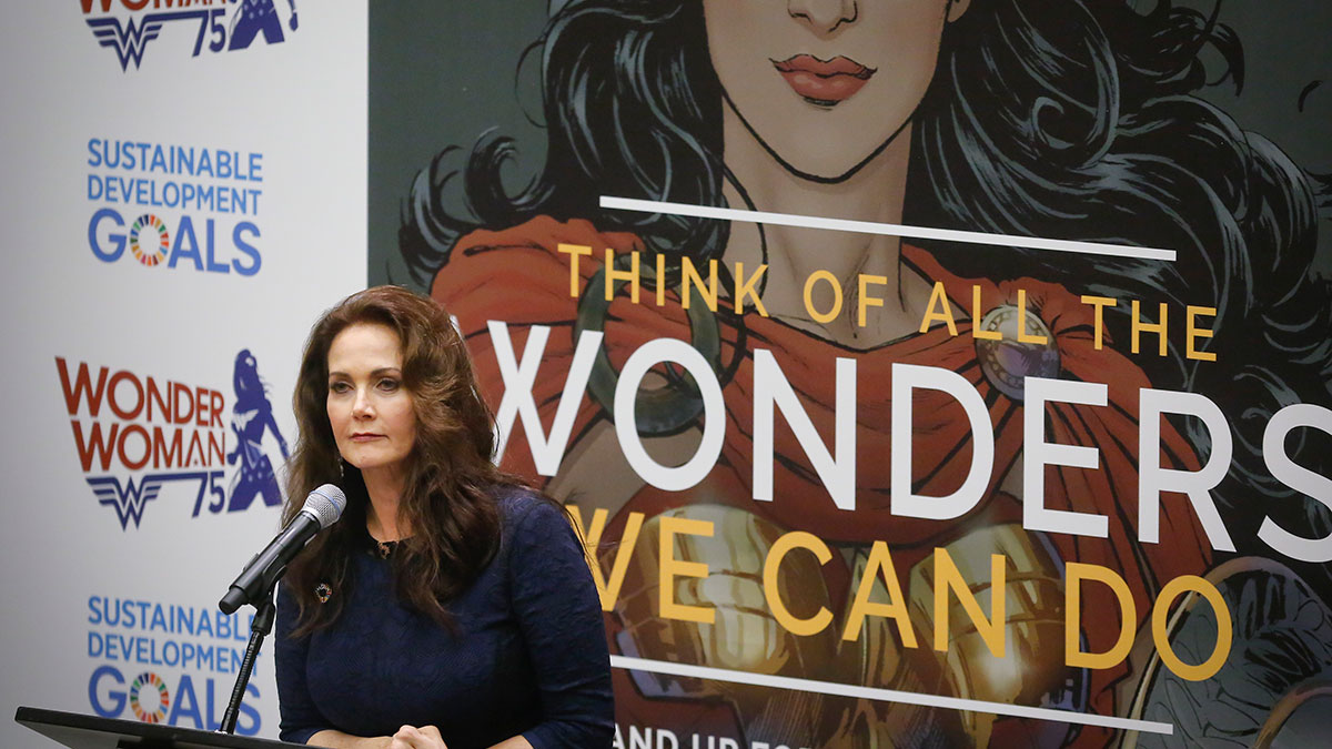 In this Oct. 21, 2016, photo, Lynda Carter, who played Wonder Woman on television, speaks during a U.N. meeting to designate Wonder Woman as an