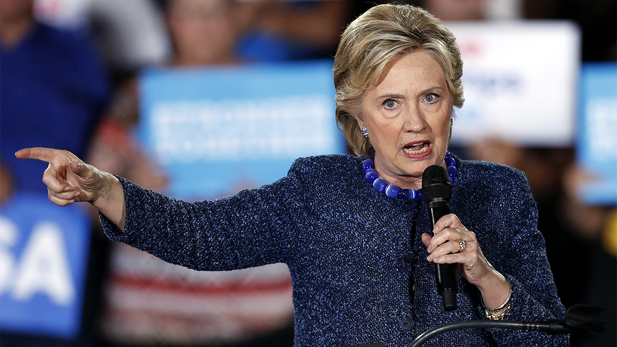 File - Hillary Clinton speaks during a rally at Theodore Roosevelt High School on Oct. 28, 2016, in Des Moines, Iowa.