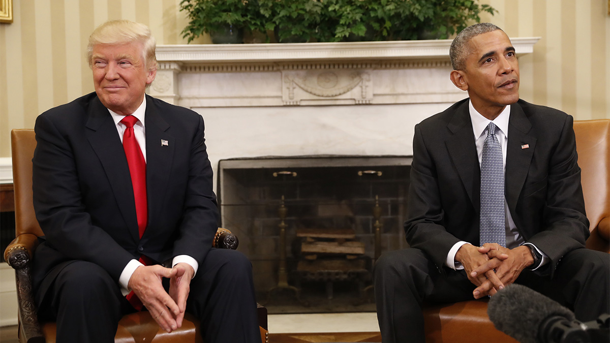 President Barack Obama meets with President-elect Donald Trump in the Oval Office of the White House in Washington, on Nov. 10, 2016.