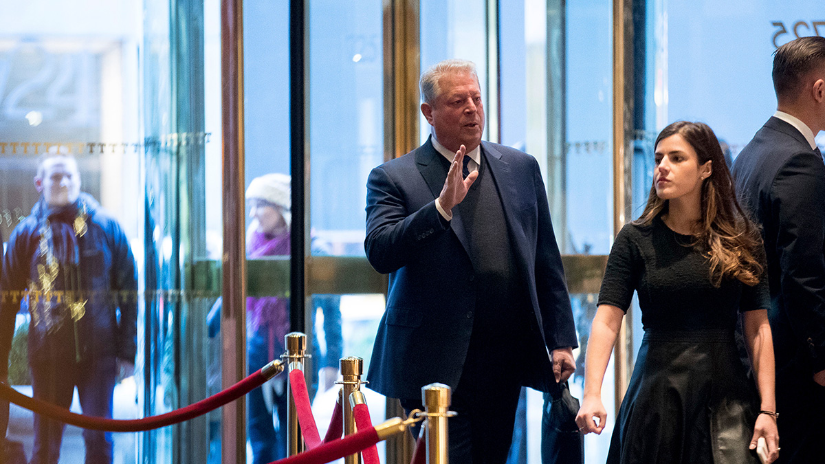 Former Vice President Al Gore arrives at Trump Tower, Dec. 5, 2016, in New York.