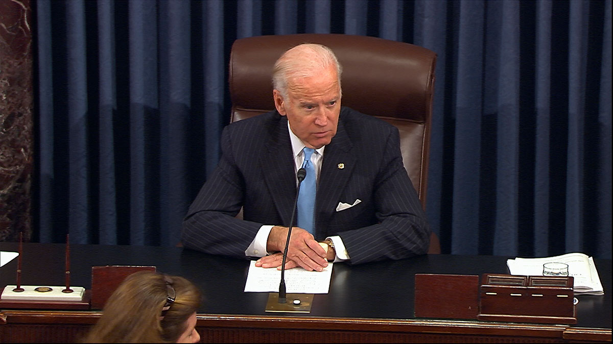 In this image from video from Senate Television, Vice President Joe Biden presides over the Senate at the U.S. Capitol in Washington, Monday, Dec. 5, 2016. A bipartisan bill to speed government drug approvals and bolster biomedical research cleared its last procedural hurdle in the Senate on Monday in an emotional moment for Biden. The overwhelming 85-13 vote put the measure on track for final legislative approval by the Senate as early as Tuesday.