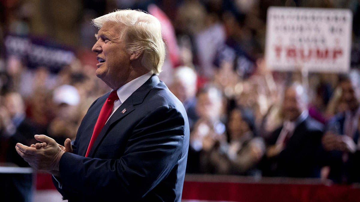 President-elect Donald Trump arrives at a rally at the Crown Coliseum in Fayetteville, N.C., Tuesday, Dec. 6, 2016. (AP Photo/Andrew Harnik)