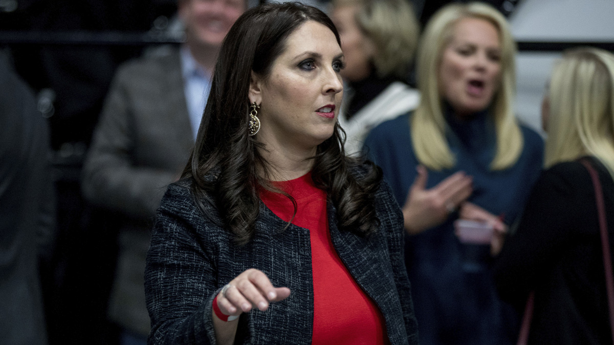 Michigan Republican Party Chairman Ronna Romney McDaniel arrives before President-elect Donald Trump takes the stage at a rally at DeltaPlex Arena, Friday, Dec. 9, 2016, in Grand Rapids, Mich. The Republican National Committee in a statement Wednesday announced that McDaniel was chosen by Trump to lead the committee.
