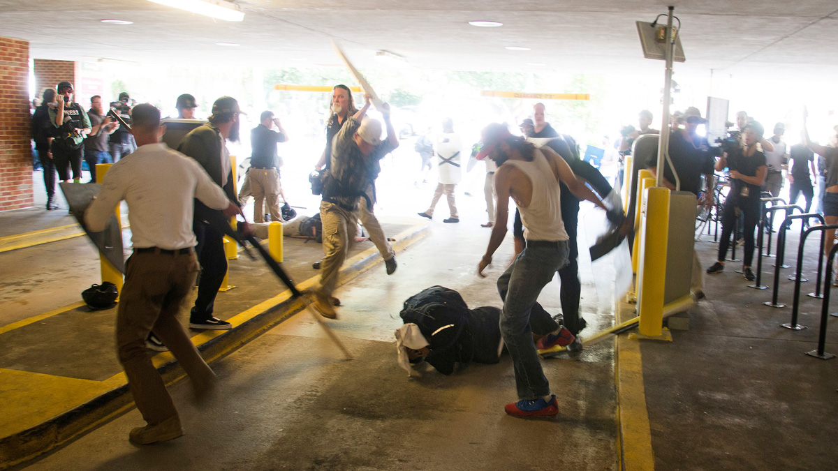 ... In A Parking Garage Beside The Charlottesville Police Station After A  White Nationalist Rally Was Disbursed By Police, In Charlottesville,  Virginia.