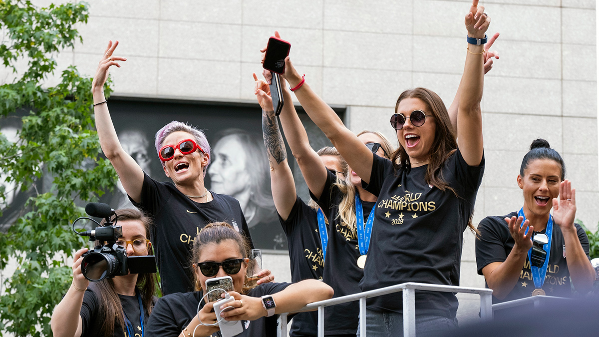 See the Ticker-Tape Parade Through the Players' Social Media