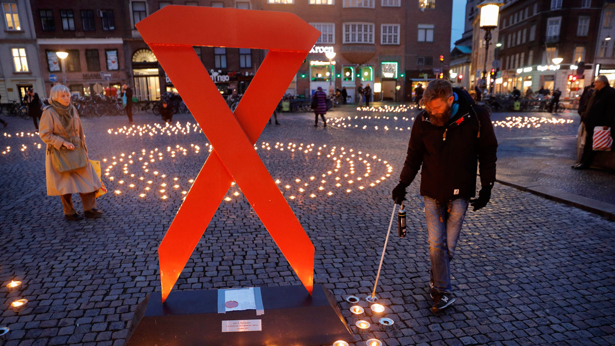 Two Thousand candles were lit in memory of victims of AIDS on World AIDS Day Thursday, Dec. 1. 2016 at Gammeltorv Square in Copenhagen, Denmark.