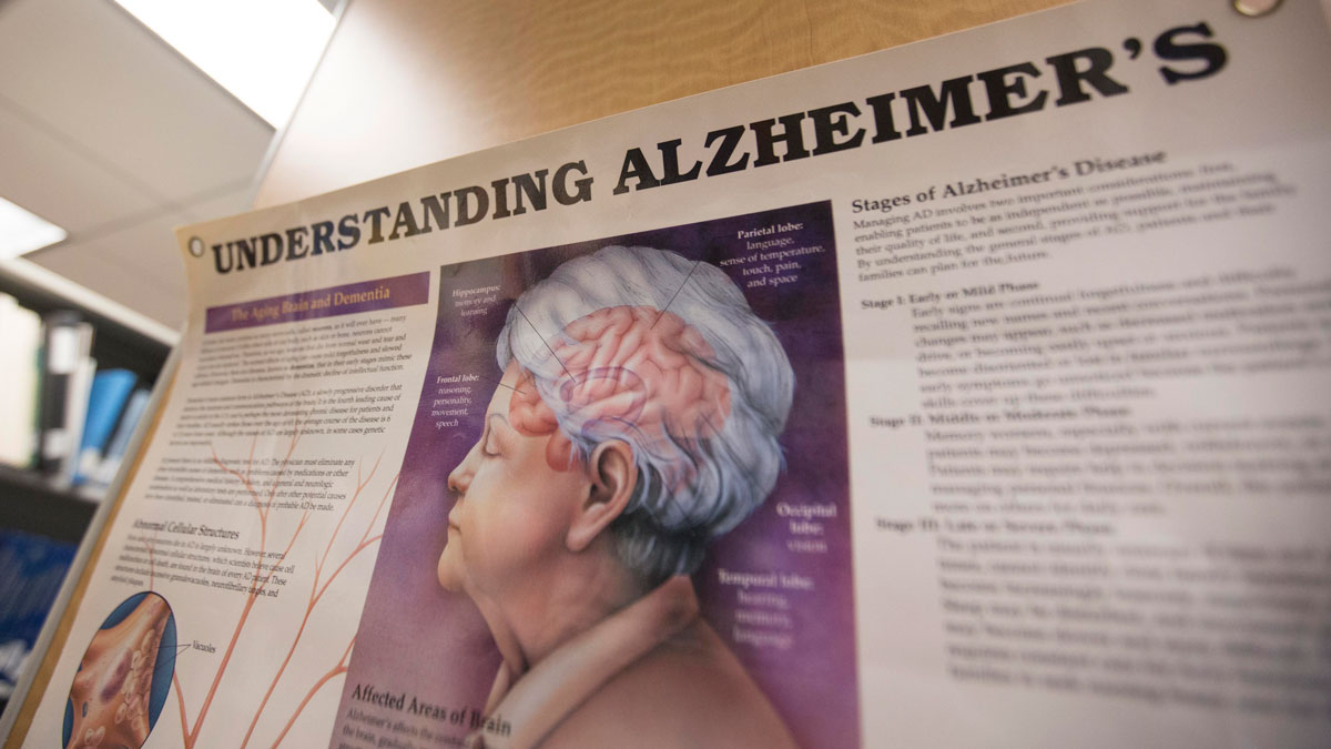 In this June 21, 2013 file photo, a poster with information about Alzheimer's Disease hangs in the library at the Alzheimer's Association Headquarters in Chicago.