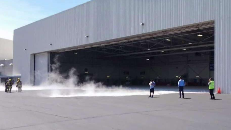 Bradley Airport hangar spill