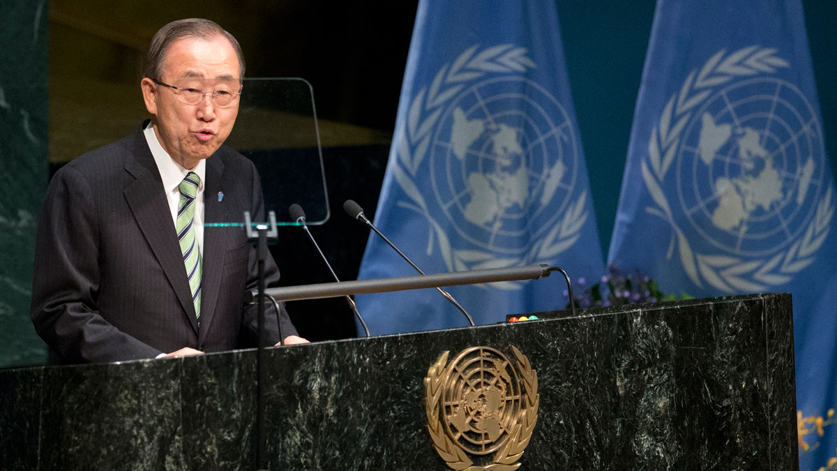 File photo: United Nations Secretary General Ban Ki-moon speaks during the Paris Agreement on climate change ceremony, Friday, April 22, 2016 at U.N. headquarters.