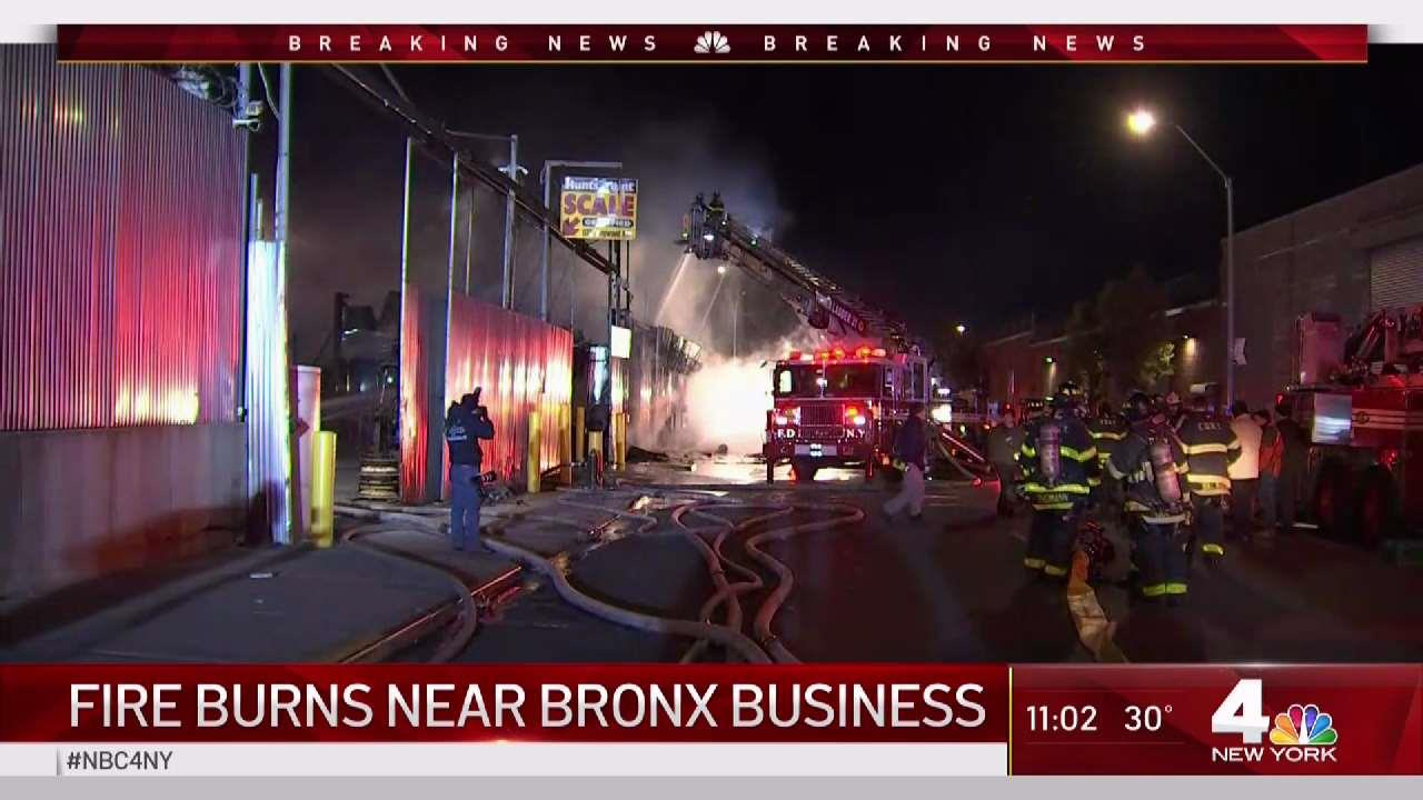 Fire Breaks Out at Wooden Pallet Warehouse Yard in NYC