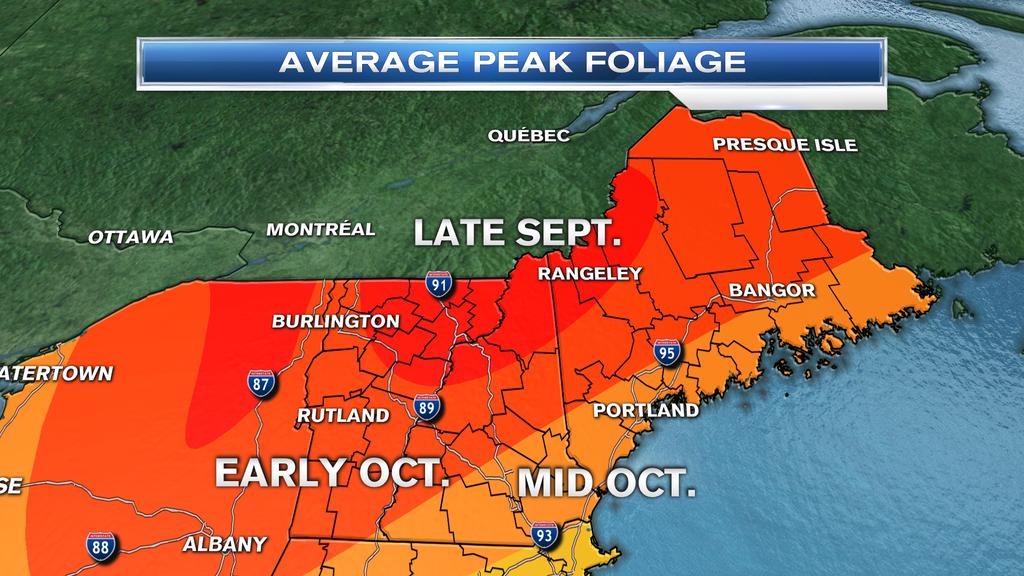 When Is Peak Fall Foliage Around New England NECN - Fall foliage map us 2016