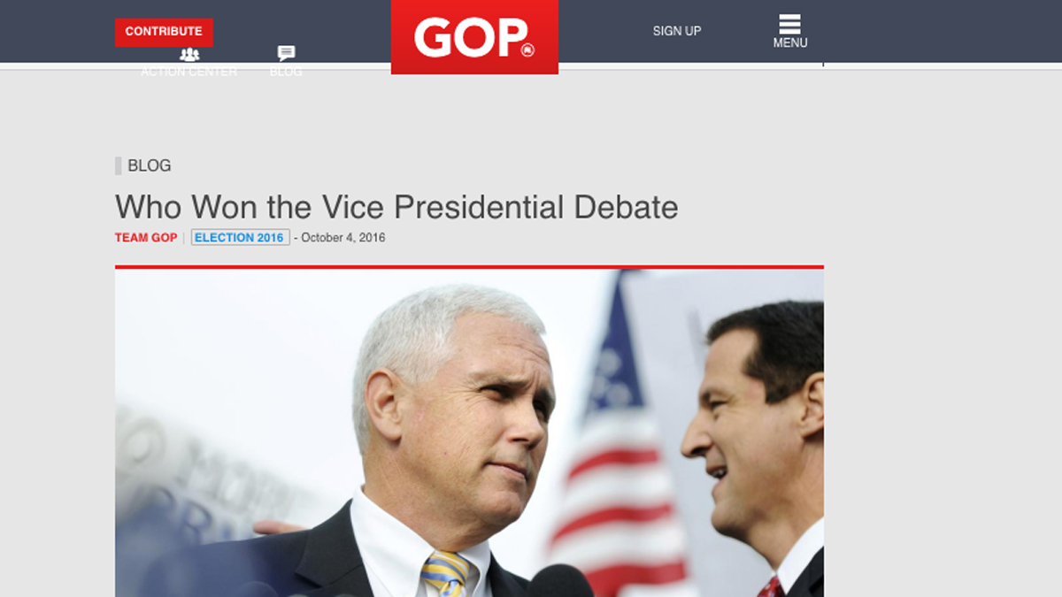 A page on GOP.com, cached by Google on Thursday, Oct. 4, 2016, at 4:55 p.m. ET., showed article titled,