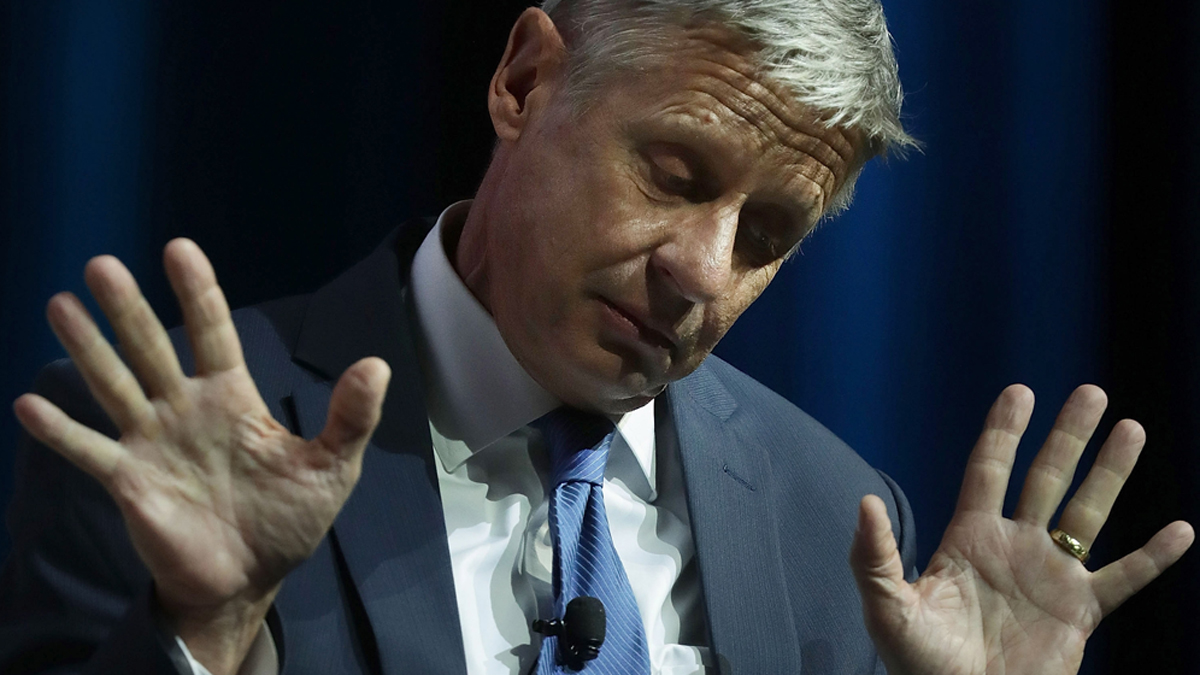 Libertarian presidential nominee Gary Johnson gestures as he speaks during a 2016 presidential election forum at The Colosseum at Caesars Palace August 12, 2016, in Las Vegas.