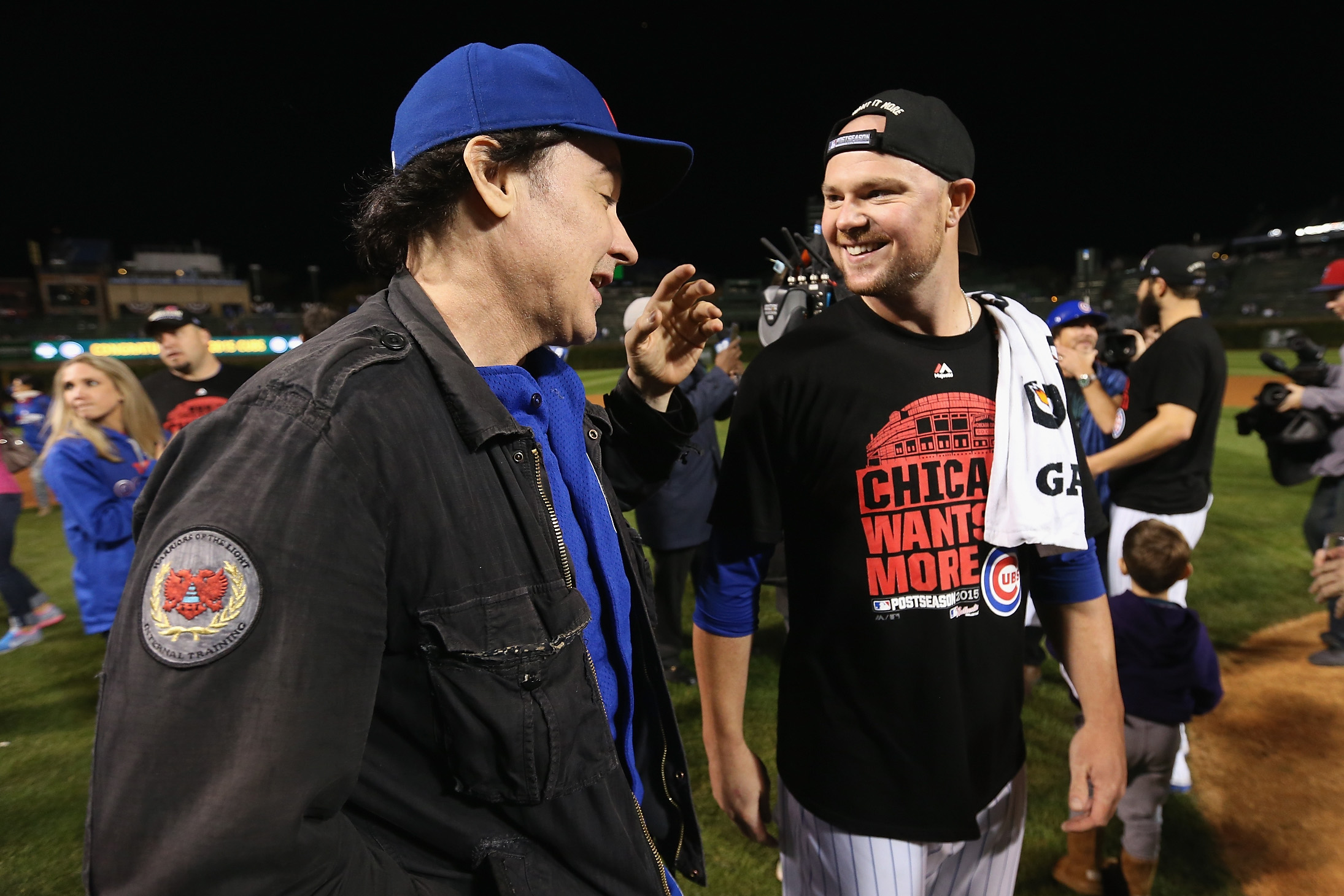 Actor and Evanston native John Cusack has been spotted at several Cubs games, even talking with pitcher Jon Lester #34 after the Cubs defeated the St. Louis Cardinals in game four of the National League Division Series at Wrigley Field on October 13, 2015 in Chicago, Illinois.