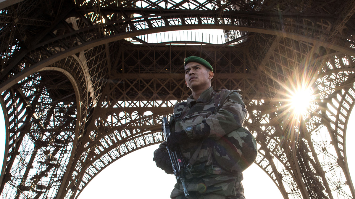 File photo: A French soldier stands guard at Eiffel Tower on Nov. 15, 2015, in Paris, France.