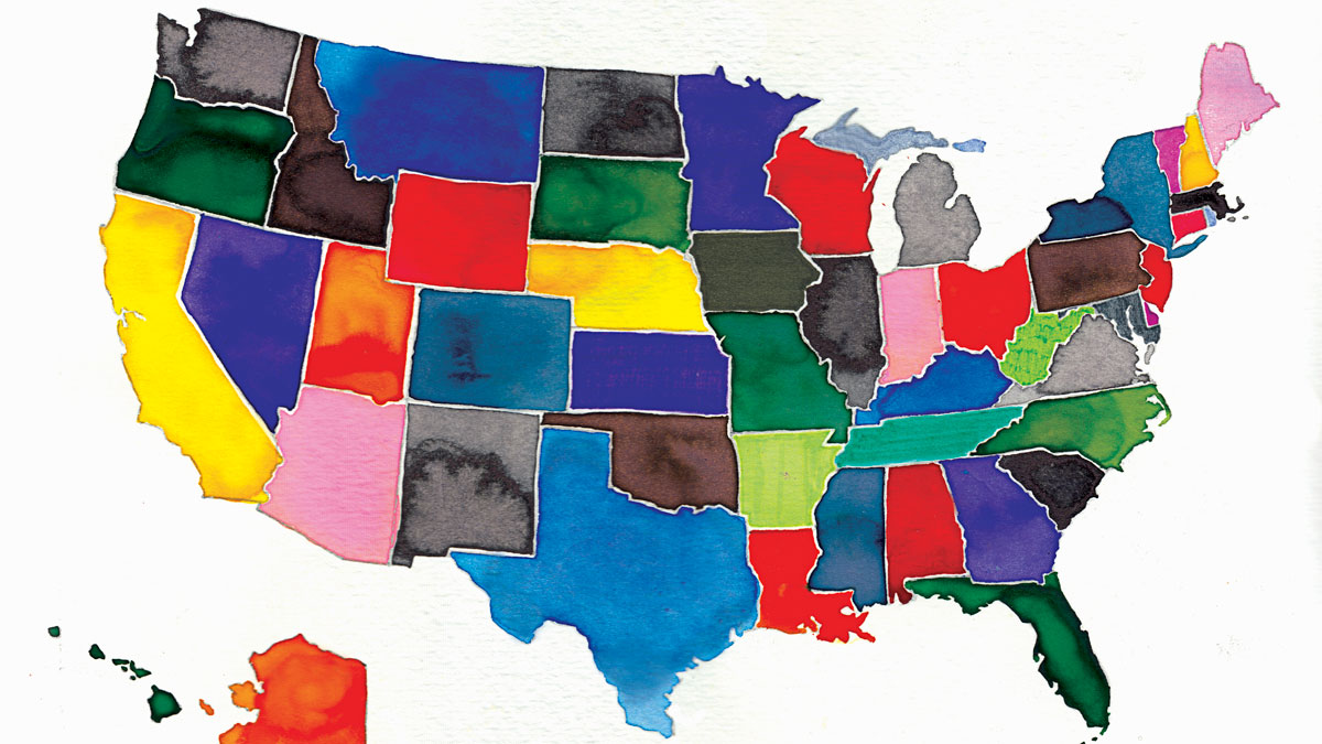 File photo: Watercolor map of the United States.