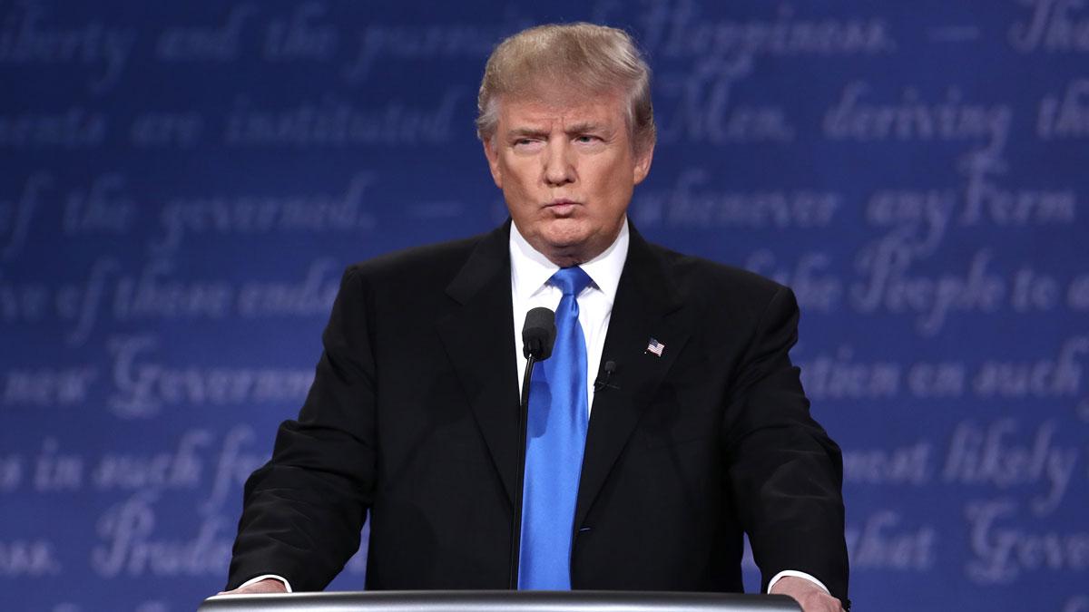Republican presidential nominee Donald Trump speaks during the Presidential Debate at Hofstra University on Sept. 26, 2016 in Hempstead, New York.