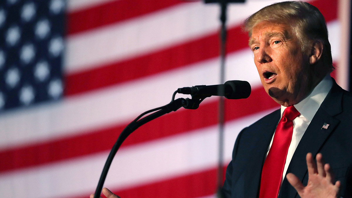 Republican presidential nominee Donald Trump speaks at a rally on Sept. 29, 2016, in Bedford, New Hampshire. New reports show that his foundation made donations to important nonprofit group's within the conservative movement.
