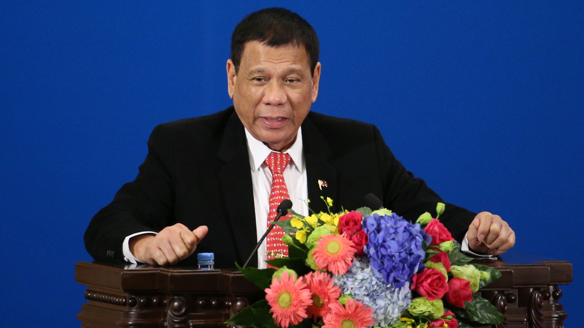 File Photo — Philippines President Rodrigo Duterte makes a speech during the Philippines - China Trade and Investment Fourm at the Great Hall of the People on October 20, 2016 in Beijing, China.