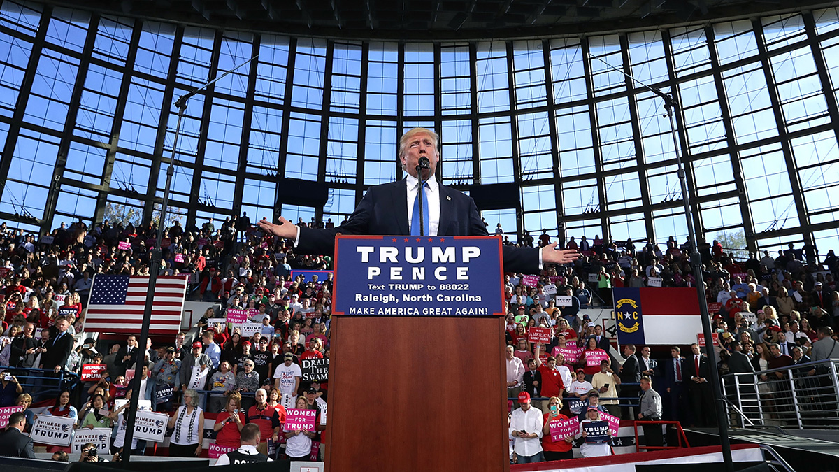 Republican presidential nominee Donald Trump holds a campaign rally at the J.S. Dorton Arena Nov. 7, 2016, in Raleigh, North Carolina.