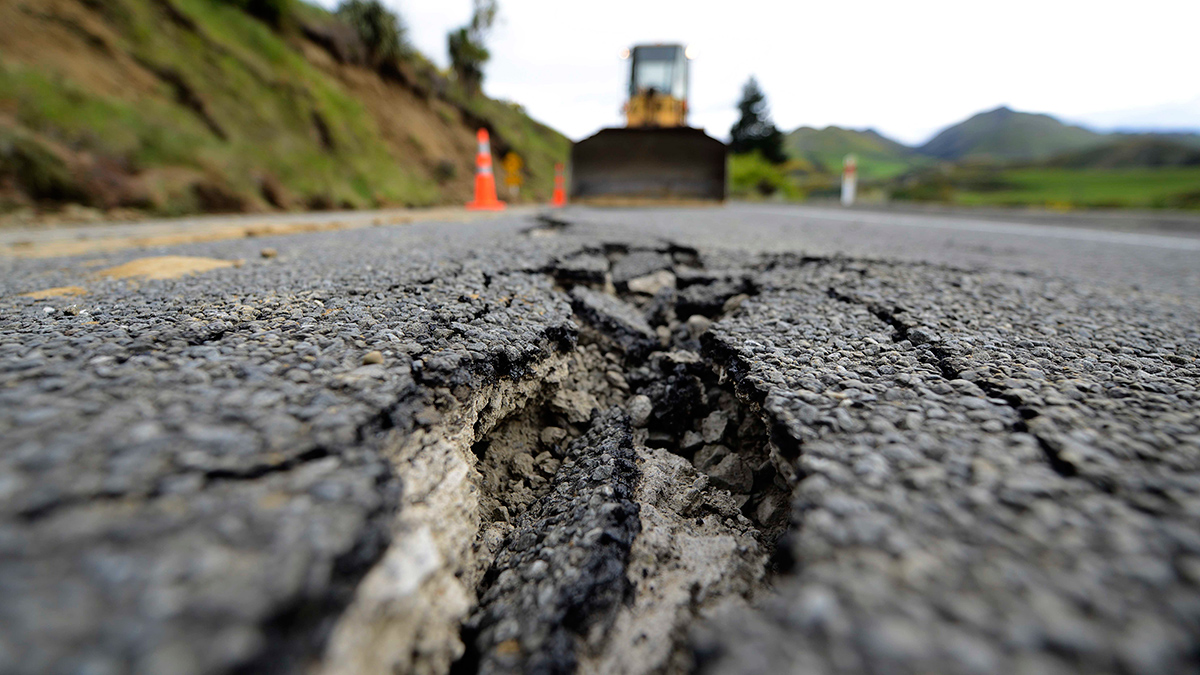 HANMER SPRINGS, NEW ZEALAND - NOVEMBER 14: Large cracks are seen on Highway 7 following a 7.5 magnitude earthquake on November 14, 2016 near Hanmer Springs, New Zealand. The 7.5 magnitude earthquake struck 20km south-east of Hanmer Springs at 12.02am and triggered tsunami warnings for many coastal areas. (Photo by Matias Delacroix/Getty Images)