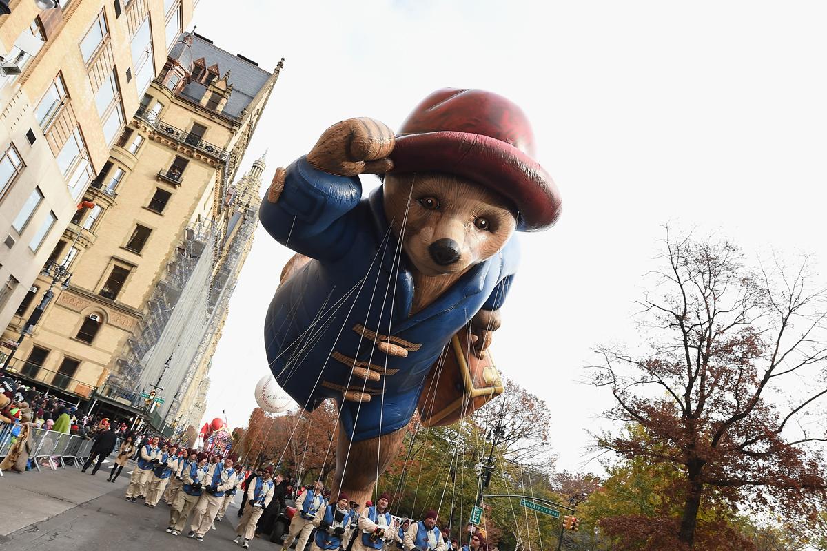 The Paddington Bear Balloon floats through the 90th Annual Macy's Thanksgiving Day Parade on Nov. 24, 2016, in New York City.