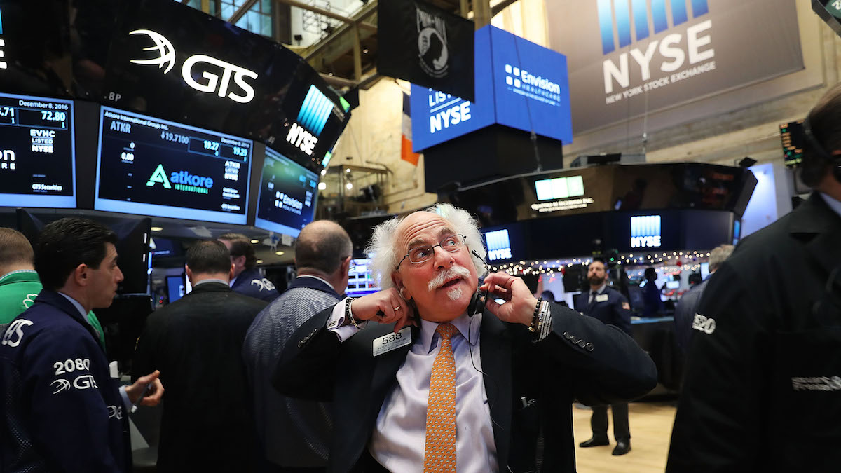 Traders work on the floor of the New York Stock Exchange (NYSE) on December 8, 2016 in New York City. Stocks began higher Thursday following yesterday's rally, the best day for the market since the presidential election.