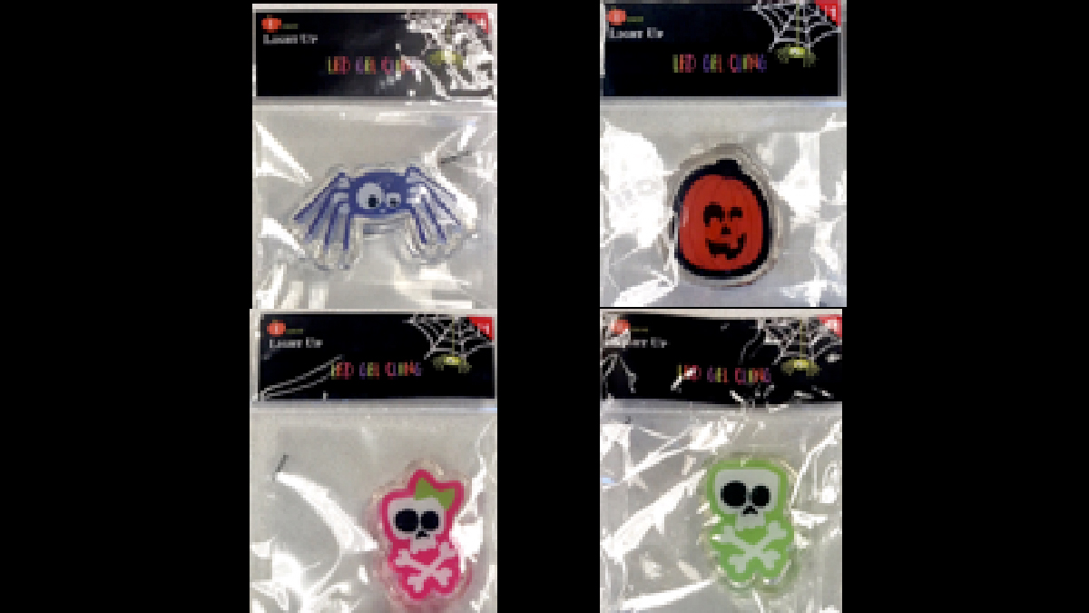Various LED gel clings sold at Target stores nationwide that were recalled Thursday, October 20, 2016.