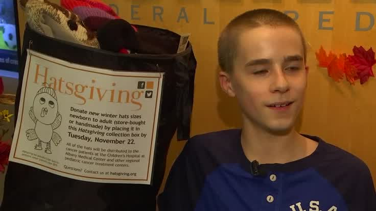 Jeremy Wernick, 13, raised over 3,000 hats for cancer patients with his
