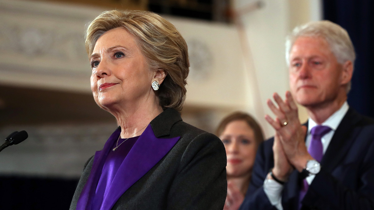 In this Nov. 9, 2016, photo, former Secretary of State Hillary Clinton, accompanied by her husband former President Bill Clinton, concedes the presidential election at the New Yorker Hotel in New York City.