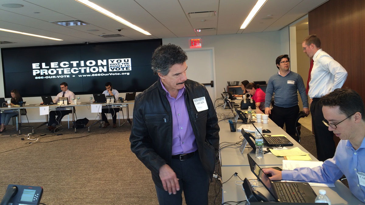 Election Protection volunteers at a hotline ran by Kirkland & Ellis in New York City on Monday, Nov. 7, 2016.