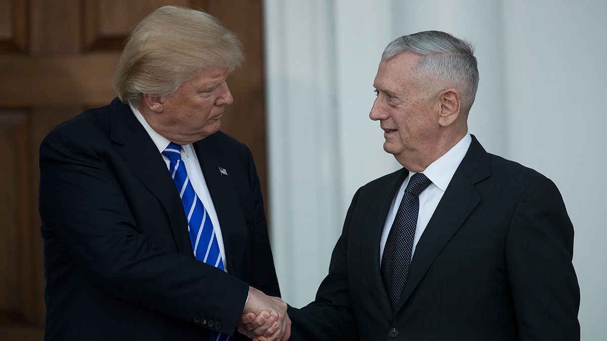 President-elect Donald Trump shakes hands with retired United States Marine Corps general James Mattis after their meeting at Trump International Golf Club, Nov. 19, 2016 in Bedminster Township, New Jersey.
