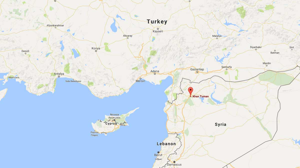 The Syrian town of Khan Tuman (or Khan Touman) south of Aleppo was on Tuesday, Sept. 21, 2016, the site of another airstrike on aid workers.