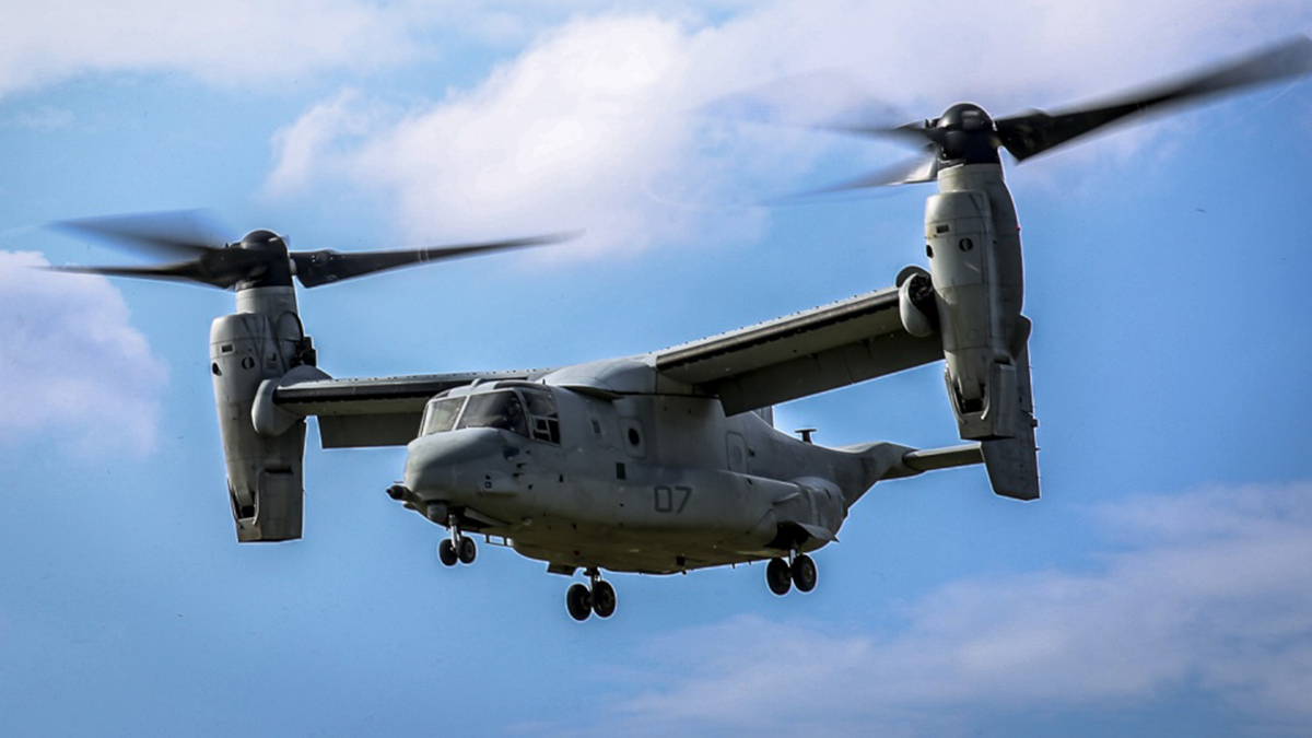 A U.S. Marine Corps MV-22B Osprey take flight after a static display presented by Marines of the 31st Marine Expeditionary Unit to Republic of Korea Marines and sailors on Camp Hansen, Okinawa, Japan, Nov.30, 2016. 31st MEU Marines continue to participate in events with their ROK counterparts to strengthen interoperability and partnerships.