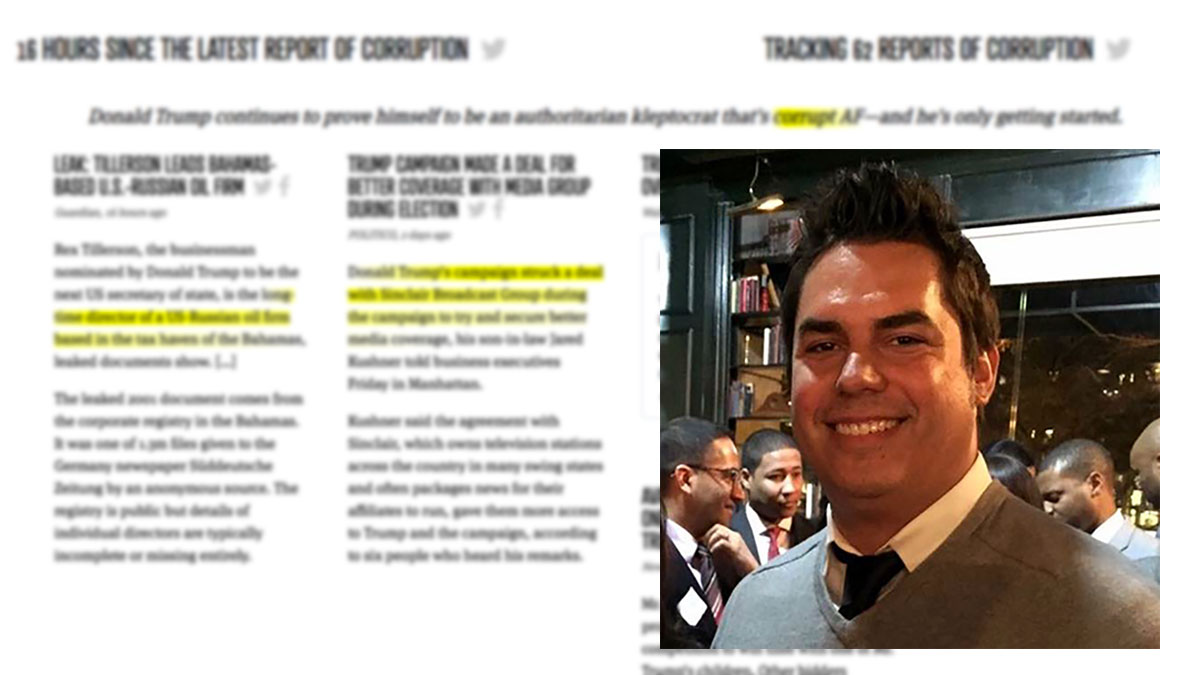 Former Clinton campaign staffer Matt Ortega (inset) created and maintains the website Corrupt.af, where he keeps track of Donald Trump's potential conflicts of interest.