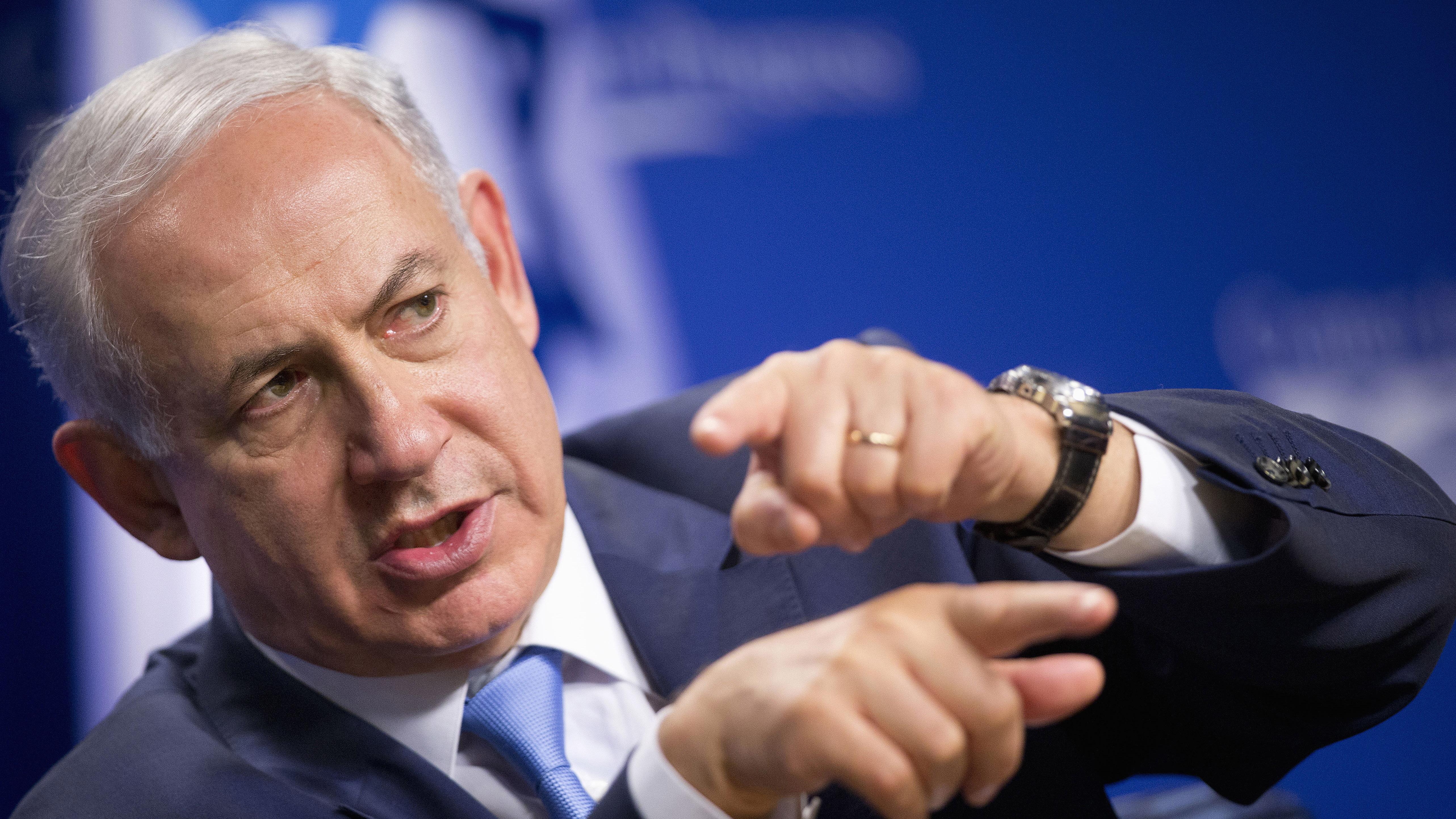 File Photo -- Israeli Prime Minister Benjamin Netanyahu speaks at the Center for American Progress, Tuesday, Nov. 10, 2015, in Washington.