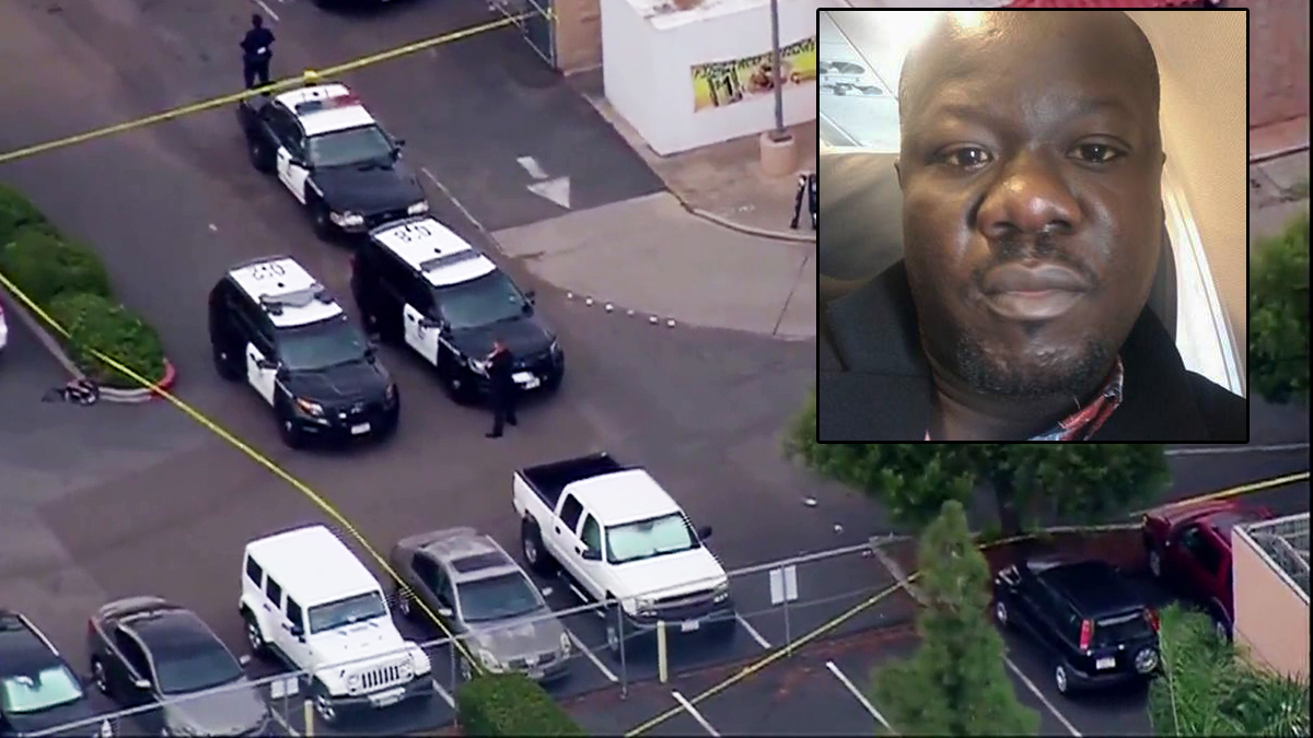 A photo of Alfred Olango from Facebook is shown with a still image of the shooting scene in El Cajon, California.
