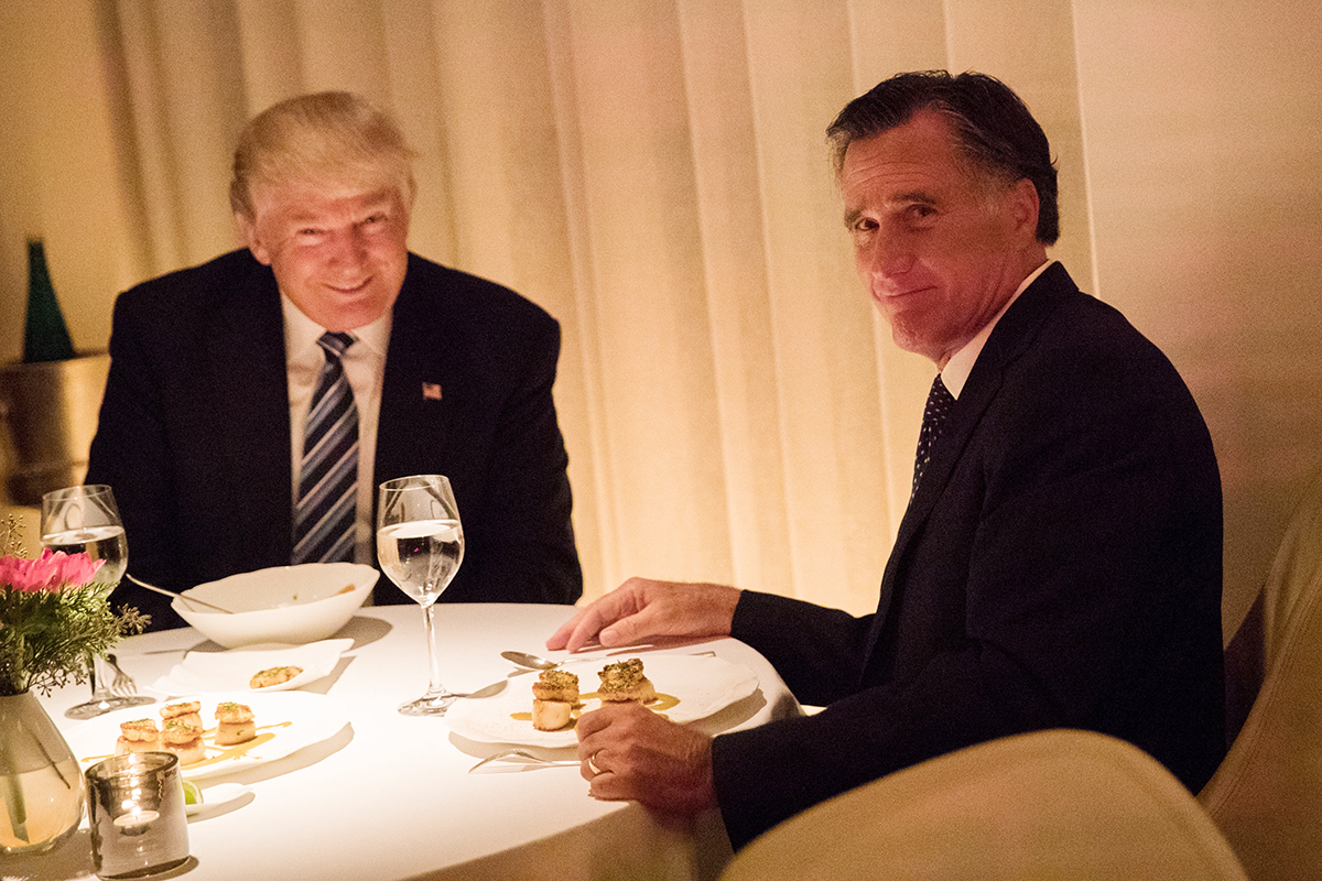 President-elect Donald Trump and Mitt Romney dine together at Jean Georges restaurant, Nov. 29, 2016 in New York City. President-elect Donald Trump and his transition team are in the process of filling cabinet and other high level positions for the new administration.